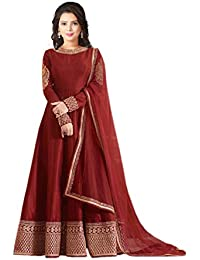 Ustaad Women's Taffeta Silk Design Semi-stitched Anarkali Salwar Suit
