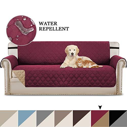 Bellahills - copridivano trapuntato di lusso, resistente all'acqua, protezione per divano in diversi colori, comodo ed efficiente, morbido e effetto scamosciato, tessuto, a: burgundy/tan, 4 sedili