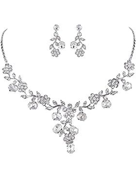 EVER FAITH® österreichischen Kristall Blätter Blume Form elegant Braut Halskette mit Ohrring Anhänger Schmuck-Set...