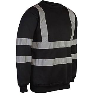 MyShoeStore® HI VIZ VIS Crew Neck Sweatshirt HIGH Visibility Work WEAR Sweat Shirt Jumper Reflective Tape Band Safety Security Outdoor Leisure Warm Casual Fleece TOP Big Sizes, Black, 3XL