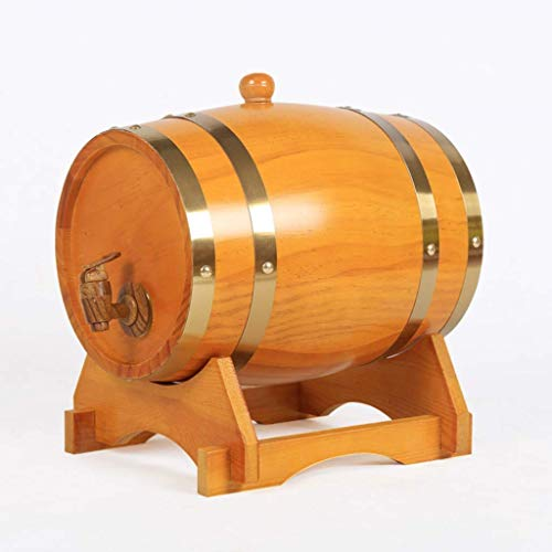 MY1MEY 3L Oak Barrel, Real Wooden Barrel Containing Aluminum Foil Liner for Storing or Brewing Wine Whiskey Spirits (Color : Beige, Size : 3L)