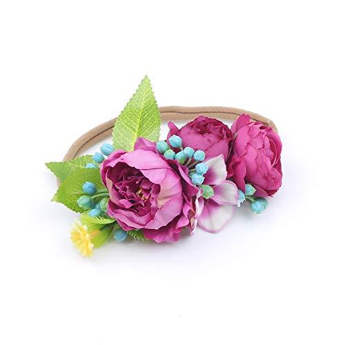 Fang-denghui, Kinder Neugeborene Blumen Stirnbänder für Mädchen Stoff Pfingstrose Wildflower Headwear Neugeborenen Haarschmuck (Color