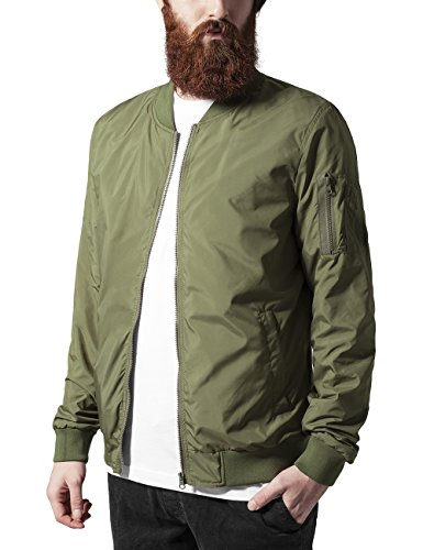 Urban Classics Herren Jacke Light Bomber Jacket, Grün (Olive 176), Medium