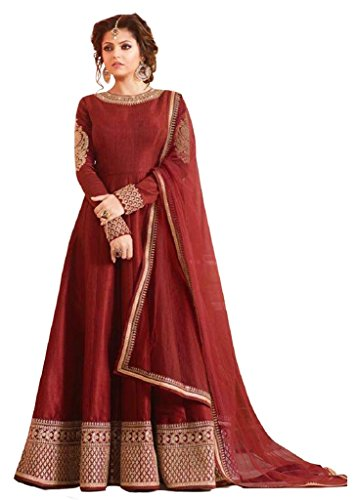 Prabhuta Enterprise Maroon full length Gown Festival special gown for women partywear Offer special gown ,Discount special gown, offer of the day function ocassional festival special gown in premium q