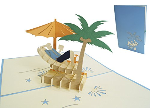 """LIN-POP UP 3D Grußkarten\""""Pension\"""", Glückwunschkarten Ruherstandkarten, Urlaubskarten, Pension Grußkarten, Reisegutschein, Palmen, Inseln, Hängermatte, N110"""