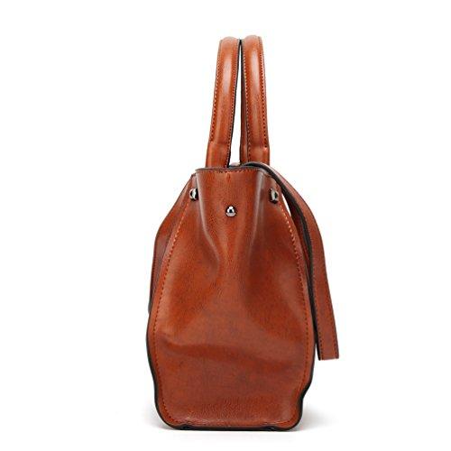 YiLianDa PU Leder Handtasche Ledertasche Umhängetasche Leder Überschlagtasche als Bild(3)