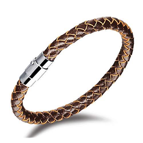 Truteraa - 2019 hochwertige Herren-Armband-Leder-Seil-Kettenarmband-Edelstahl-magnetische Haken-Armband-Mann-Geschenk-Vintage Schmuck [2 22cm]