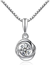 Fashmond- Collier avec pendentif fleur trèfle à quatre feuilles- Argent 925 et oxyde de zirconiumm- Idée cadeau anniversaire