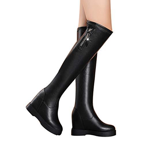 Geili Damen Stiefel Overknees Frauen Elegante Erhöhung der Höhe Keilabsatz Langschaft Schlüpfen Lederstiefel High Boots Warme Wasserdicht Winterstiefel Abendschuhe 36-39