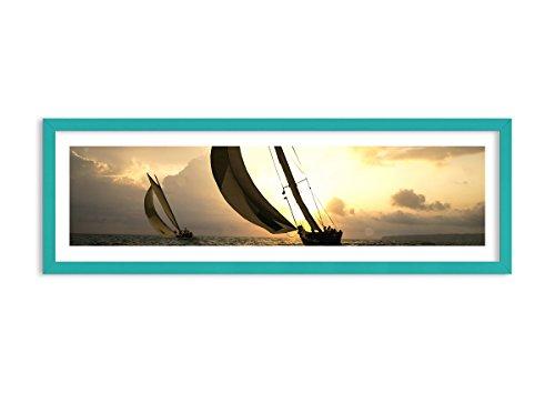 Bild im blauen Holzrahmen - Bild im Rahmen - Bild auf Leinwand - Leinwandbilder - Breite: 90cm, Höhe: 30cm - Bildnummer 3158 - zum Aufhängen bereit - Bilder - Kunstdruck - F1CAB90x30-3158