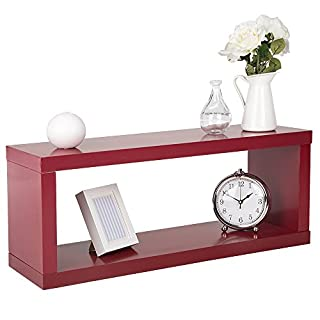 DURAline Box Shelf Set Storage Unit in Red Design with Chunky Shelving Kit - 80 x 25 x 32cm