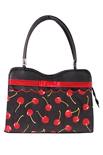 SugarShock Damen 50s retro rockabilly Kirschen Schleifen Tasche BOW Cherry Handtasche -