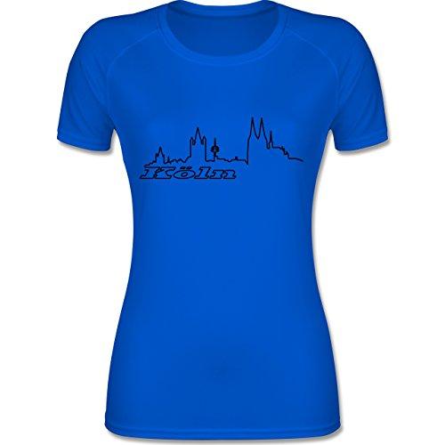 Shirtracer Skyline - Köln Skyline - S - Royalblau - F355 - Atmungsaktives Funktionsshirt für Damen