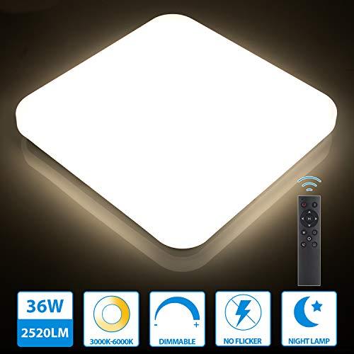 Oeegoo 36W LED Deckenleuchte dimmbar, 2520LM led Deckenlampe einstellbar Helligkeit(10% bis 100%) Lichtfarbe(3000K bis 6500K), led Wohnzimmerleuchte für Schlafzimmer Küche Büro Speicherfunktion