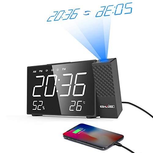 ESHOWEE Projektionswecker, digital FM Radiowecker 12/24 Stunden Radiouhr mit Projektion/LED-Anzeige für Temperatur/Luftfeutigkeit, Dual-Alarm mit USB-Ladeanschluss, 180 Grad Dreh-Projektuhr