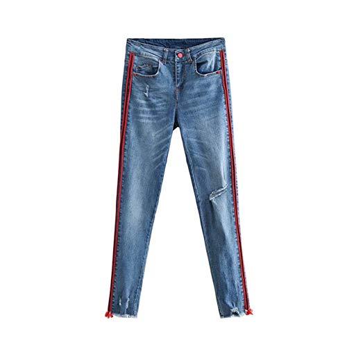 Jeans Femme Serré Pantalon Slim été Côté Décoration de Ceinture Gland Pieds Coupe Slim Trou Coupe en Trois Dimensions aux Femmes Force élastique Jeans lavés,M