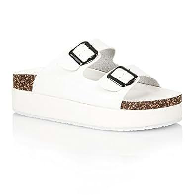 Sandales à semelle compensée - chaussures confortables à enfiler - liège - femme - blanc, cuir synthétique - EUR 40