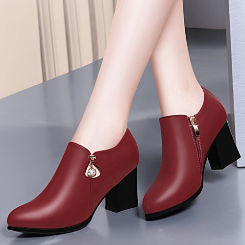 HWF Scarpe donna Scarpe da donna Scarpe col tacco alto a forma di molla Scarpe da lavoro in pelle monopetto stile inglese a punta rosse nere ( Colore : Rosso , dimensioni : 40 ) Rosso