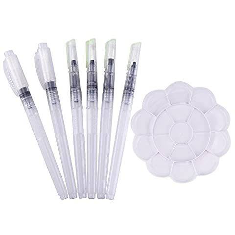 Mudder 6 Pieces Water Brushes Watercolor Pens with Flower Shape Paint Plate Tray Mixing Palette