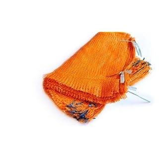 100 Orange Net Sacks 40cm x 60cm 15Kg with Drawstring Raschel Bags Mesh Vegetables Logs Kindling Wood