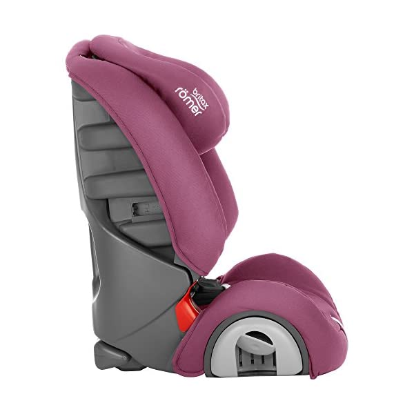 Britax Römer EVOLVA 1-2-3 Group 1-2-3 (9-36kg) Car Seat - Wine Rose  The EVOLVA 1-2-3 grows with your child as it can be used for children from 9 kg to 36 kg. This makes it the only car seat you'll need after an infant carrier Highback booster protection - As your little one grows, you can easily switch from the integral harness (up to 18 kg) to using the car's 3-point seat belt (up to 36 kg) to secure the child in the seat.  The upper and lower belt guides will provide correct positioning of the seat belt Recline position for all ages - the recline position provides a comfortable sleeping position for your child. simply adjust the seat before fitting it in your car 5