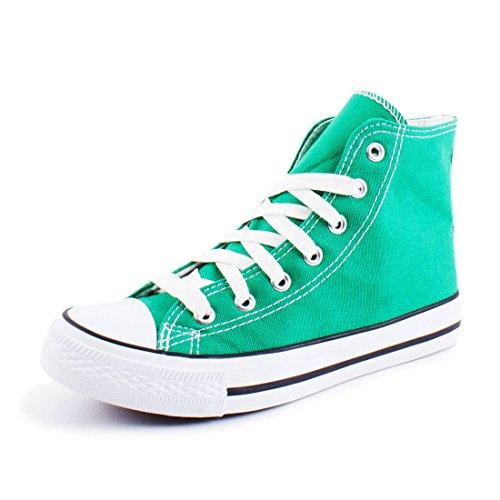 Marimo Damen High Top Turnschuhe Sneaker Textil Canvas Schuhe Grün 37