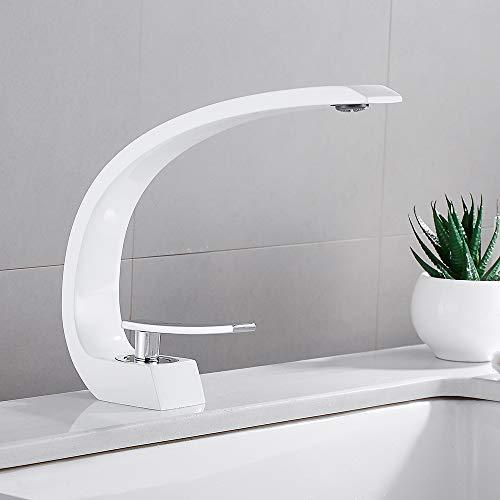 Waschtischarmatur Weiß Chrom Wasserhahn Waschbecken Amatur Bad Einhebelmischer Mischbatterie für Badzimmer