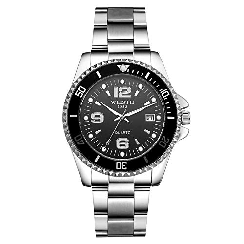 Men\'s Waterproof Night Light Watch Series Business Fashion Watches with Small Dial Steel Belt Black Face-1#