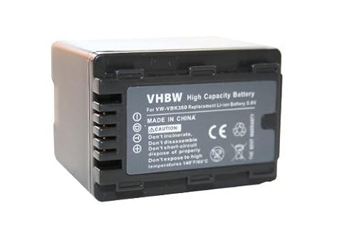 vhbw Akku 3200mAh für Camcorder Kamera Panasonic HDC-SD66, HDC-SD80, HDC-SD90, HDC-SD99, HDC-SDX1, HDC-HS60 wie VW-VBK360, VW-VBK360-K.