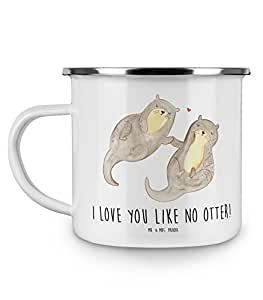 Mr. & Mrs. Panda Camping, Metalltasse, Emaille Tasse Otter händchenhaltend mit Spruch - Farbe Weiß