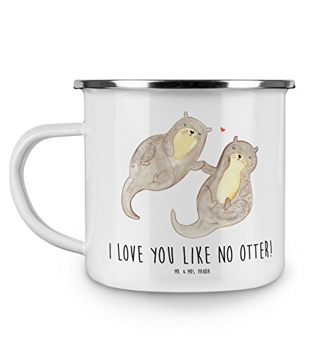 Mr. & Mrs. Panda Emaille Tasse Otter händchenhaltend - 100% handmade in Norddeutschland - Otter Seeotter See Otter Emaille Tasse, Metalltasse, Kaffeetasse, Tasse, Becher, Kaffeebecher, Camping, Campingbecher