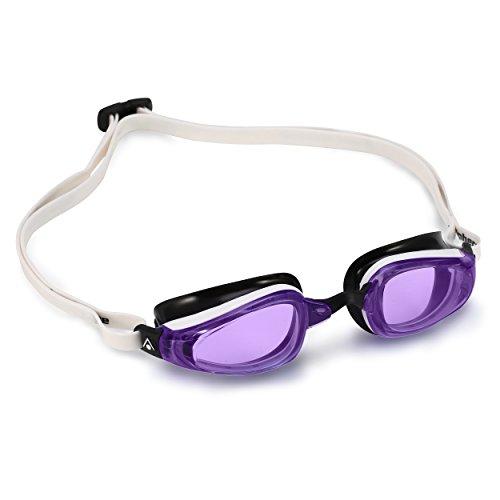 MP (Michael Phelps) K180 Schwimmbrille, Violet Lens - White/Black, Regular Fit