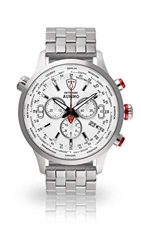 DETOMASO AURINO Herren-Armbanduhr Chronograph Analog Quarz silbernes Edelstahl-Armband weißes Zifferblatt DT1061-D