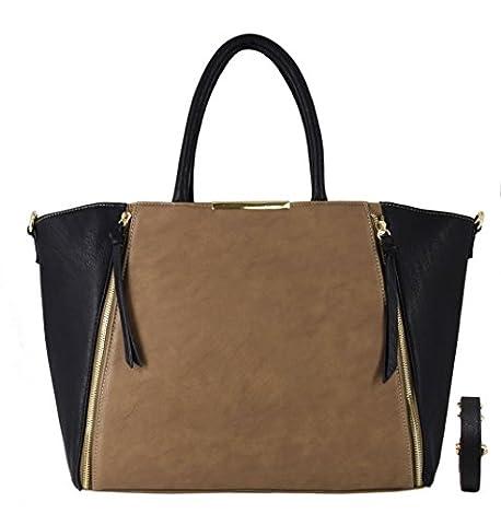 CRAZYCHIC - Sac à main cabas avec zip déco à l'avant et plaque dorée - Sac femme - Tendance - Taupe