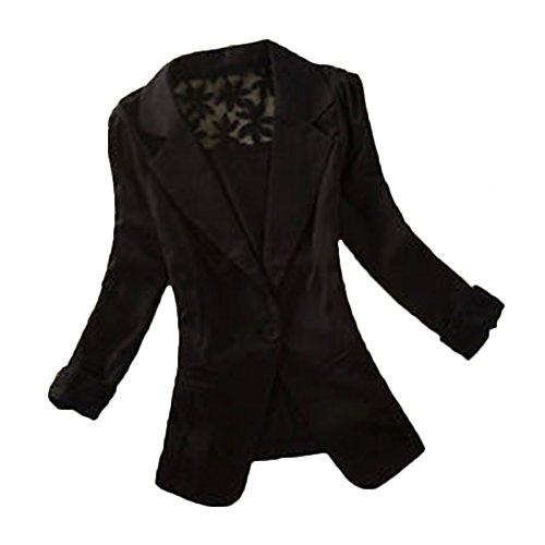 Vertvie Damen Blazer Langarm Spitze Tailliert Slim Business Anzug Casual Jacke Oberteil(Schwarz, M/EU 36-38)