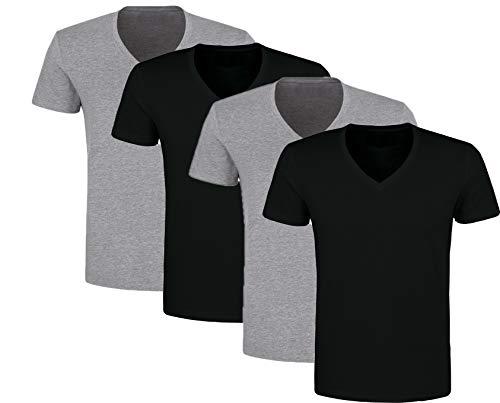 4er Pack Herren V-Neck Ausschnitt Unterhemden T-Shirt (Schwarz/Grau, 9 | XXL) -