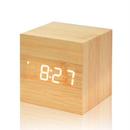 Sunsbell Digital-Wecker, Modern Holz Cube Design Digital LED-Schreibtisch-Wecker Sprachsteuerung Thermometer Timer Kalender