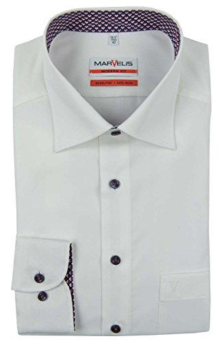 Marvelis Modern Fit Hemd weiß Weiß