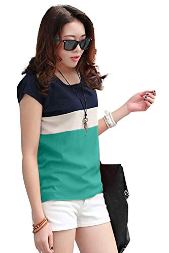 khyati Crepe Casual Tops for Girls Women (Green) (Green, Large)