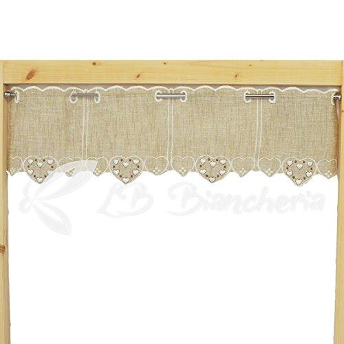 R.p. mantovana ricamata cuori country love tirolese tessuto naturale beige melange h.cm 17-100% cotone made in italy - cm 17x150 - beige