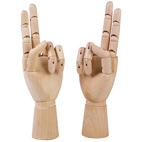 Wooden Sectioned Posable Articulating Hand 2 Pack Both Left and Right Realistic Wood Mannequin Manikin Hand Drawing Sketch Art 9.84 Inches