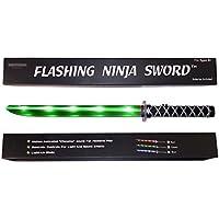 Spada giocattolo ninja luminosa (LED) Deluxe con effetti sonori mettallici attivati al movimento - Verde