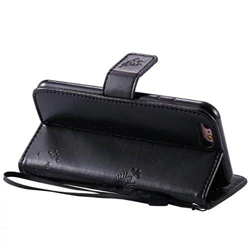 JIALUN-Telefon Fall Mit Kartensteckplatz, Lanyard, Druck Schöne Muster Mode Open Handy Shell Für IPhone 6 6s 4.7 Zoll ( Color : Pink ) Black