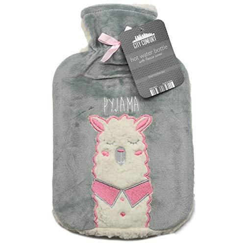 Wärmflasche mit Vliesbezug Wärmflaschenbezug Flauschig Fashy 2 Liter Bettflasche Prosecco Gin Einhorn für Frau und Mädchen (Lama)