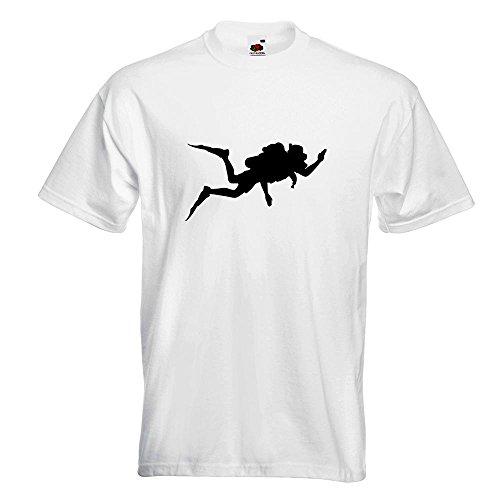 KIWISTAR - Taucher Silhouette T-Shirt in 15 verschiedenen Farben - Herren Funshirt bedruckt Design Sprüche Spruch Motive Oberteil Baumwolle Print Größe S M L XL XXL Weiß