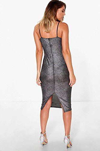 Argent Femme Sara Metallic Ribbed Midi Bodycon Dress Argent