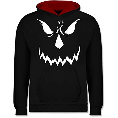 Shirtracer Anlässe Kinder - Scary Smile Halloween Kostüm - 12-13 Jahre (152) - Schwarz/Rot - JH003K - Kinder Kontrast Hoodie
