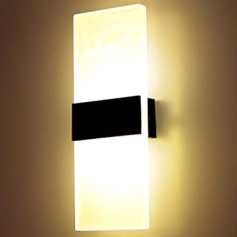 12W Moderne Led Applique Murale Interieur, Carré en Acrylique et Design en Titane en Aluminium Noir, 3000K Blanc Chaud pour Chambre Maison Couloir Salon 290 * 110 * 48 mm