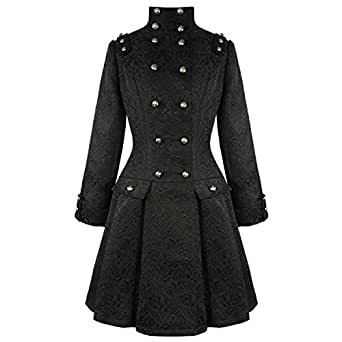Hearts & Roses London Black Gothic Military Steampunk Frock Coat