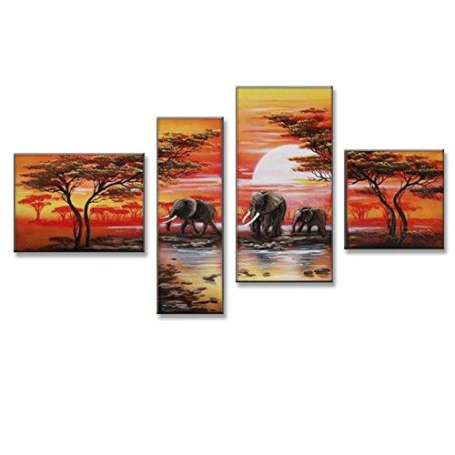 JH Lacrocon Pinturas África a Mano 4 Piezas - Total 120X70 cm...